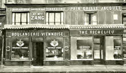 This shows the original Boulangerie Viennoise (Viennese bakery) at 92, rue de Richelieu in Paris in or around 1909